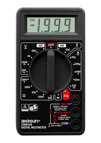 Picture of DM830E, GS marking DIGITAL MULTIMETER