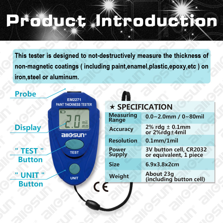 EM2271 Paint Coating Thickness Meter Gauge Tester Auto 0-2mm//0-80mil Probes